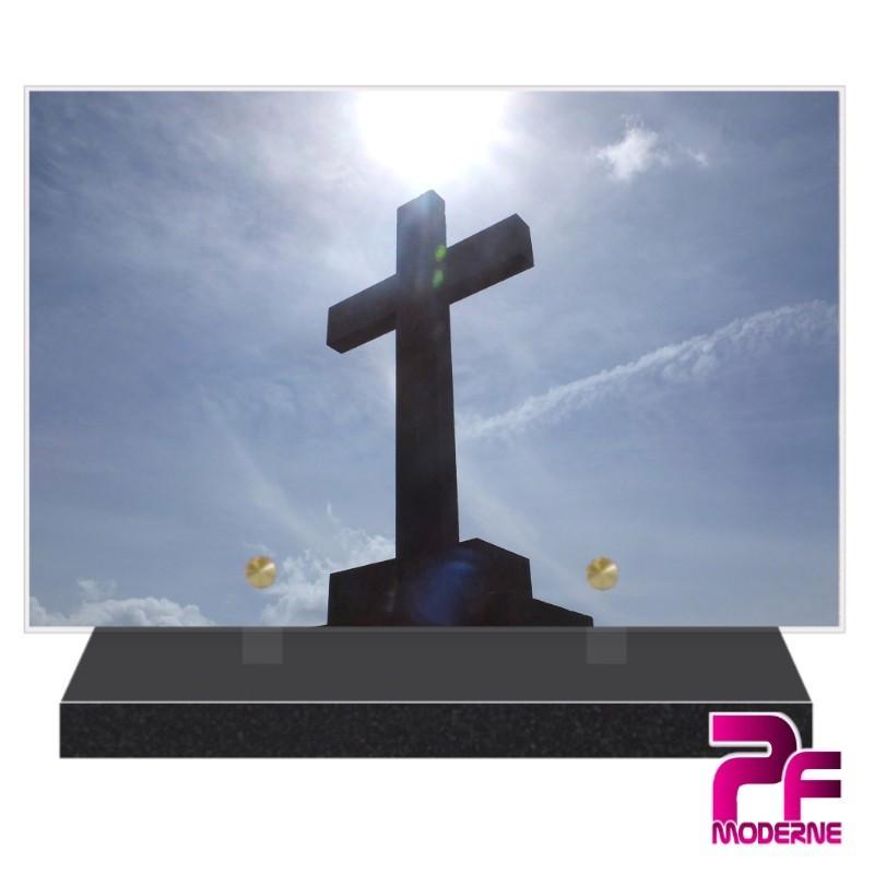 PLAQUE FUNÉRAIRE RELIGION CHRÉTIENNE CROIX PFM6215