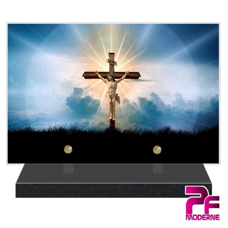 PLAQUE FUNÉRAIRE RELIGION CHRÉTIENNE CHRIST CROIX PFM6218