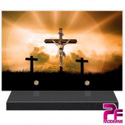 PLAQUE FUNÉRAIRE RELIGION CHRÉTIENNE CHRIST EN CROIX PFM6219
