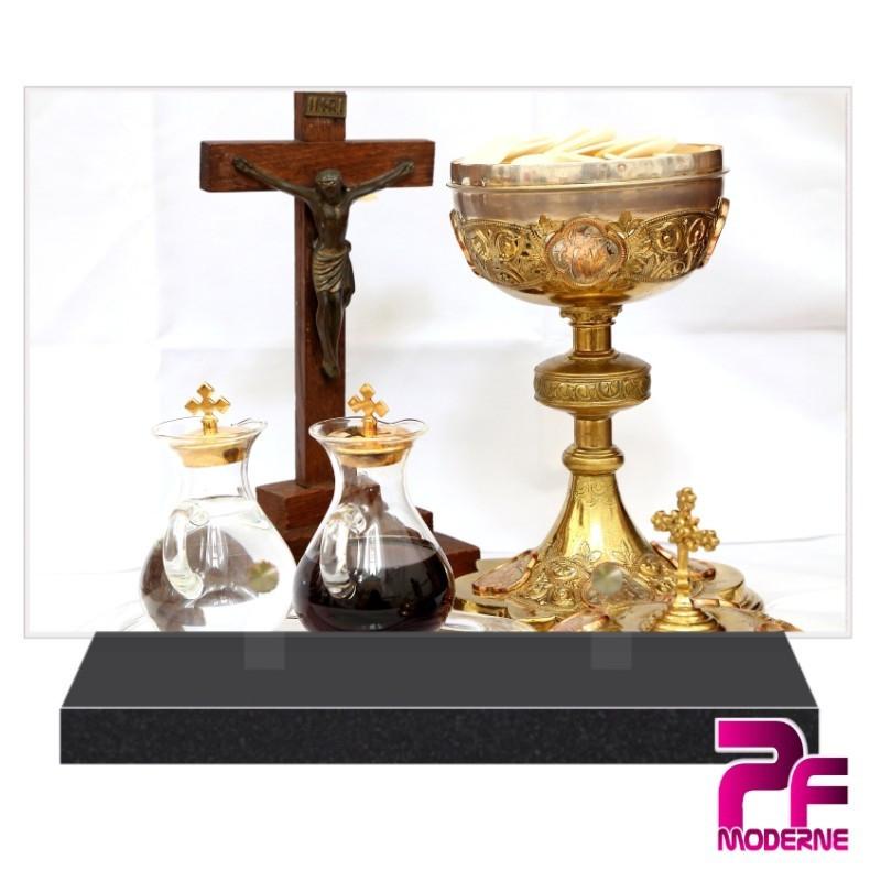 PLAQUE FUNÉRAIRE RELIGION CHRÉTIENNE CALICE PFM6220