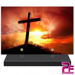 PLAQUE FUNÉRAIRE RELIGION CHRÉTIENNE CRUCIFIX SOLEIL PFM6224