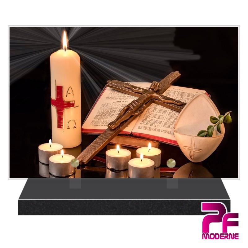 PLAQUE FUNÉRAIRE RELIGION CHRÉTIENNE CROIX BIBLE BOUGIES PFM6201