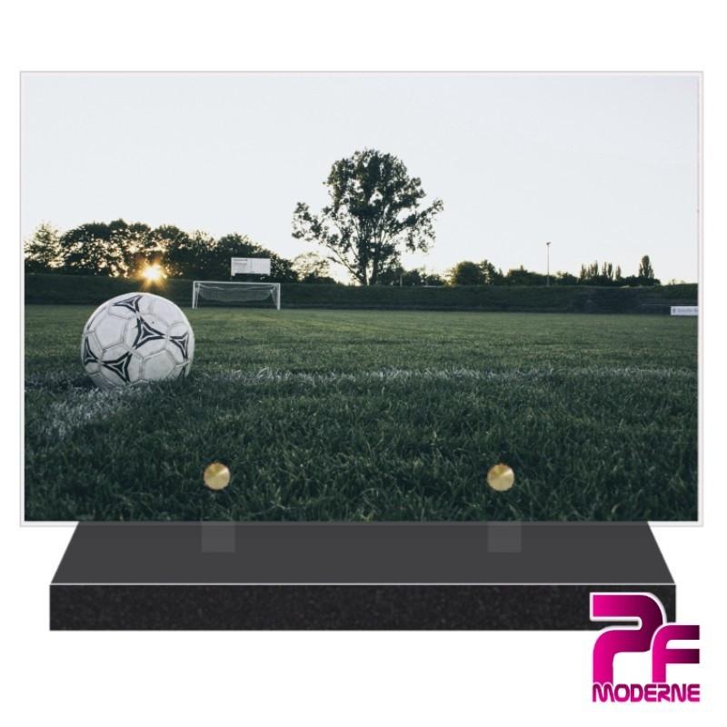 PLAQUE FUNÉRAIRE BALLON ET TERRAIN DE FOOTBALL PFM10161