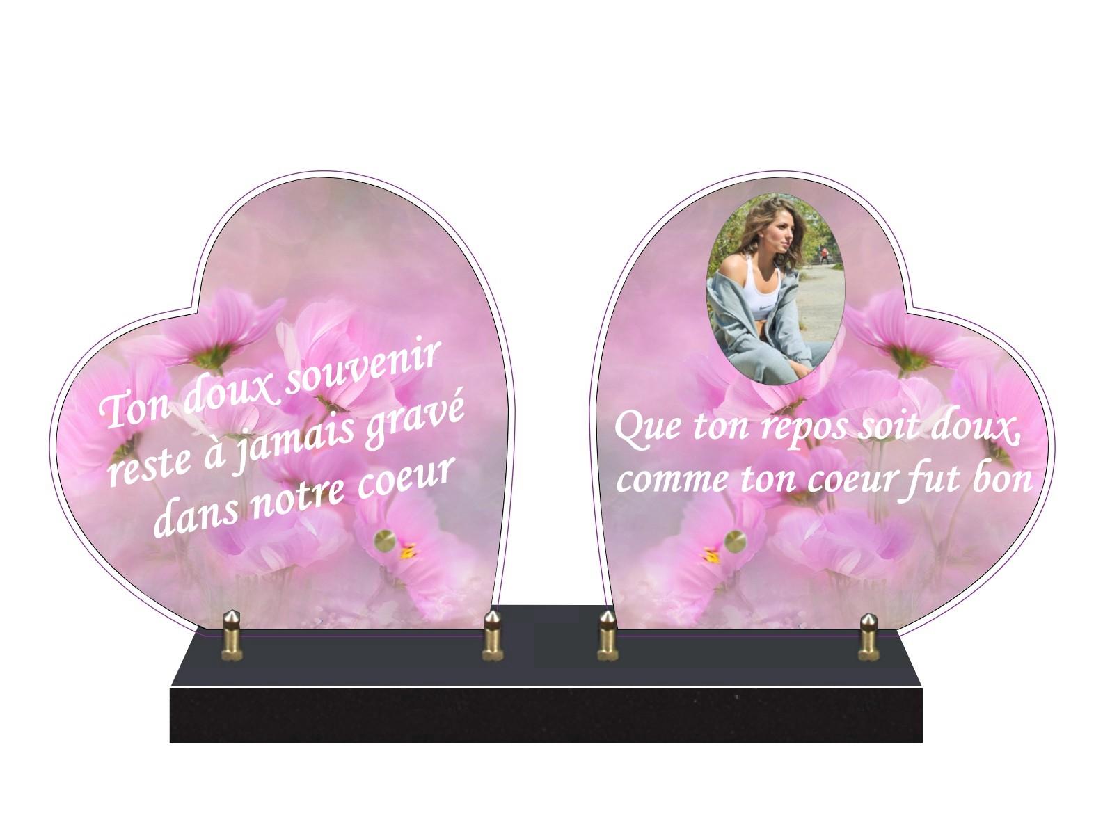 plaque funeraire double coeur personnalisée
